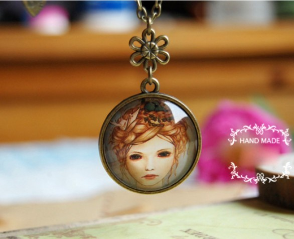 Primary image for Vintage Forest Princess Portrait Medal Acrylic Pendant Necklace