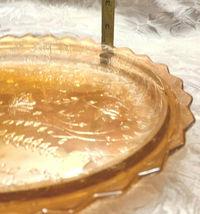 Vintage Carnival Glass Amber Marigold Iridescent Oval Dish Scalloped Rim image 6