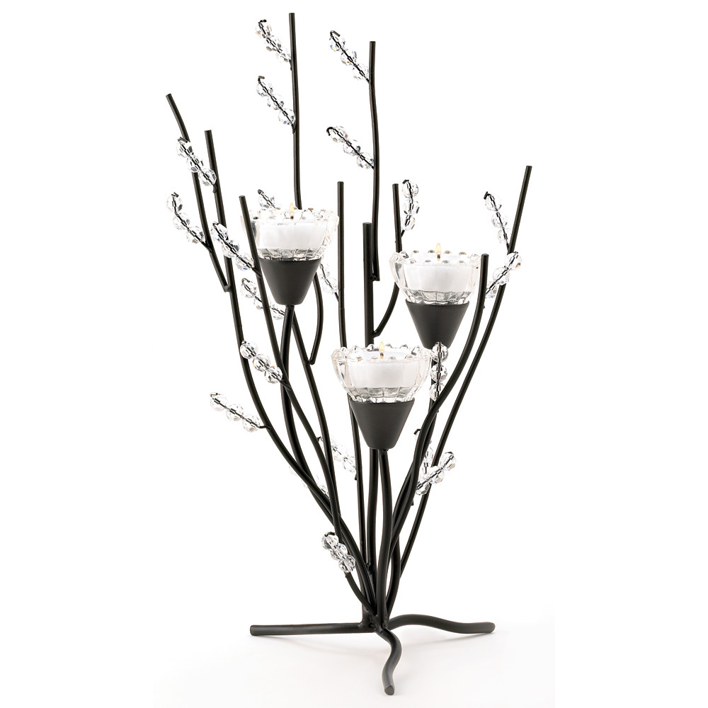Crystal Tree Tealight Holder black boughs and crystalline berries