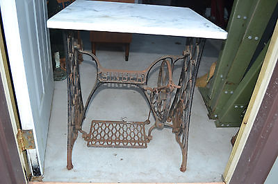 Antique Singer Treadle Sewing Machine Cast Iron Frame Table Base Marble top