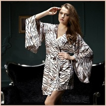 Pale Zebra Striped Flare Sleeved Knee length Imitation Silk Robe with Sash Belt
