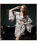 Pale Zebra Striped Flare Sleeved Knee length Imitation Silk Robe with Sa... - $81.95