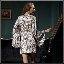 Pale Zebra Striped Flare Sleeved Knee length Imitation Silk Robe with Sash Belt image 2