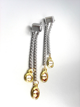 GORGEOUS Silver Box Cable Chain Gold Brown Topaz Crystals Dangle Earrings  - $16.99