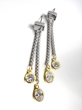 GORGEOUS Silver Box Cable Chain Gold Clear Topaz Crystals Dangle Earrings  - $16.99