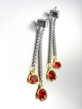 GORGEOUS Silver Box Cable Chain Gold Red Garnet Crystals Dangle Earrings  - $16.99