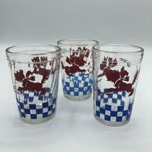 "Vintage Terrier Scottish Scotty Glass Blue Red Checkered 3.5"" Drinking B... - $34.00"