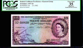 "BRITISH CARIBBEAN TERRITORIES P11b $20 ""MAP NOTE"" 1959 PCGS 35! EXTREMEL... - $4,950.00"