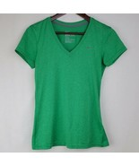 Nike Dri Fit Womens Tshirt XS Green V Neck Regular Fit Activewear Fitness  - $14.99