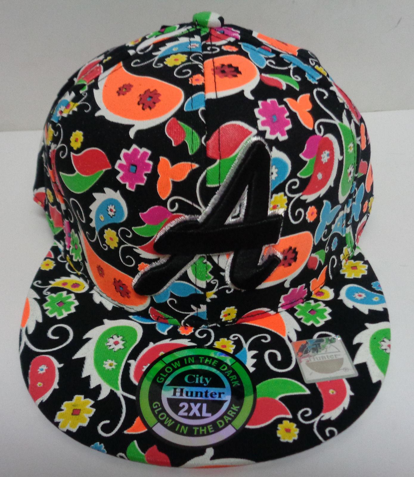 "Atlanta Baseball Cap 2XL Glow in the Dark Multi Colored NWT City Hunter ""A"""