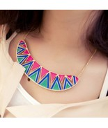 Fashion Ethnic Irregular Lacquered Triangle Choker Necklace(Pink-blue) - $8.39