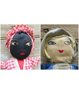 Primitive Original Topsy Turvy Rag Doll Handmade Cloth Folk Art Plantati... - $425.68