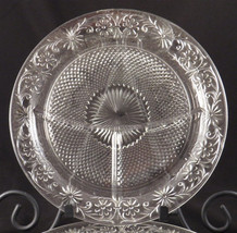 THREE DAISY Sandwich Glass GRILL PLATES Vintage 1930's Indiana Glass Div... - $25.83