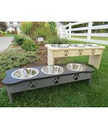 ELEVATED DOUBLE DISH DOG FEEDER Bone or Traditional Shape Finished or Un... - $83.54+