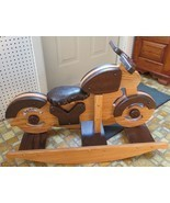 WOODEN ROCKING MOTORCYCLE Handmade Toddler Child KIDS Toy Rocker SOLID OAK - $341.01