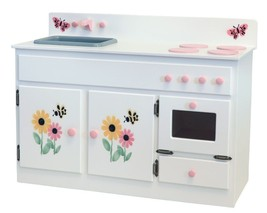 Kitchen Sink Stove & Oven Amish Handmade Wood Play Furniture White w/ Stencils - $376.17