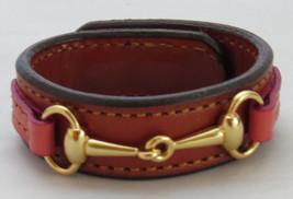 Equestrian Bit Bracelet Pink Chestnut Leather Gold Snaffle Horse Handcrafted - £32.67 GBP