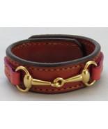 Equestrian Bit Bracelet Pink Chestnut Leather Gold Snaffle Horse Handcra... - £32.34 GBP