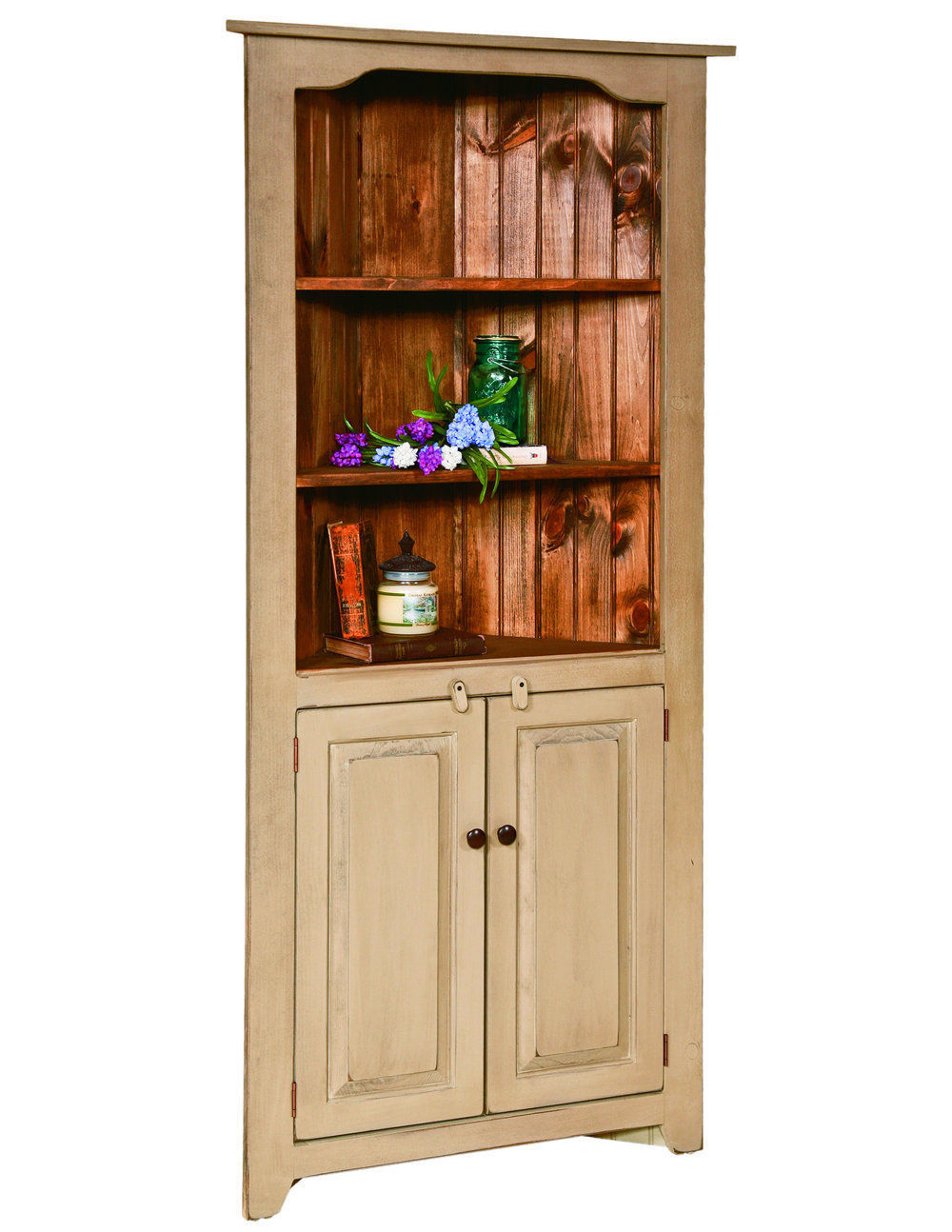 Corner china hutch kitchen cabinet country farmhouse amish for Cupboard cabinet