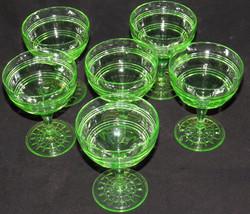Lot of 6 GREEN URANIUM VASELINE DEPRESSION GLASSES Sherbert Dessert Glas... - $91.17