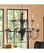 LARGE HARRISON CHANDELIER Primitive Wood & Metal 15 Candle Rustic Ceilin... - $791.95