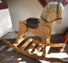 Large Wooden Rocking Horse Handmade Toddler Nursery Toy Furniture Light Oak - $367.26