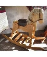 LARGE WOODEN ROCKING HORSE Handmade USA Toddler NURSERY Toy Furniture LI... - $382.17