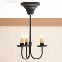 Three Arm Primitive Wrought Iron Metal Ceiling Light Hanging Colonial Fi... - $237.35