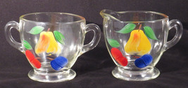 Bartlett Collins GAY FAD CREAM PITCHER & SUGAR BOWL Painted Fruit APPLES... - $20.41