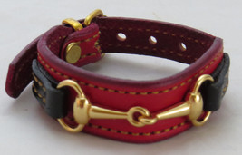 Equestrian Bit Bracelet Red Black Leather Gold Snaffle Horse Handcrafted USA - $43.56