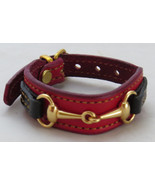 Equestrian Bit Bracelet Red Black Leather Gold Snaffle Horse Handcrafted... - £32.34 GBP