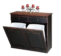 RECYCLE TRASH DOUBLE BIN CABINET - Amish Handma... - $653.00