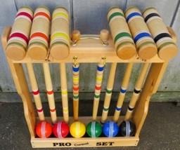 "CROQUET SET & CADDY 6 Player 32"" Maple Wood Brass Amish Handmade Yard La... - $325.66"