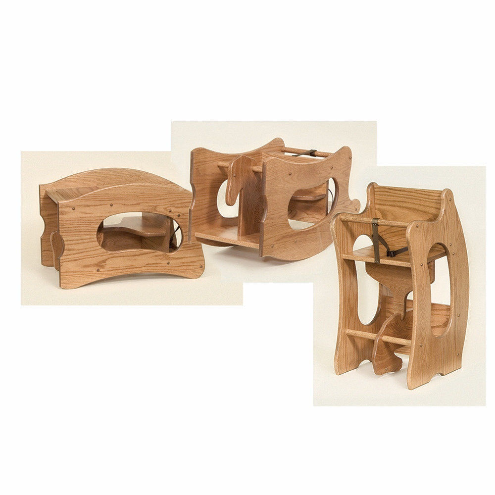 HIGH CHAIR Desk ROCKING HORSE 3 In 1 Amish Handmade Children Furniture SOLID