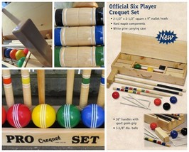 OFFICIAL CROQUET SET w/ CARRYING CASE Amish Handmade 6 Player USA Maple ... - $375.14