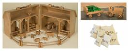 Handcrafted Wooden Toy Farm Barn Wood Play Animals Tractor Wagon Hay Bal... - $442.88