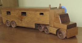 HUGE Wooden Horse Tractor Trailer Toy Wood Truck Homeschool Waldorf Equestrian - $138.57