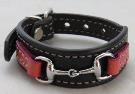 Equestrian Bit Bracelet Pink Black Leather Silver Snaffle Horse Handcrafted USA - $43.56