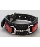 Equestrian Bit Bracelet Pink Black Leather Silver Snaffle Horse Handcraf... - £32.34 GBP