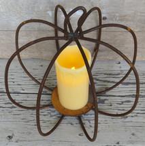 WROUGHT IRON PUMPKIN CENTERPIECE  Rusty 3-D Candle Holder Fall Halloween... - $34.74