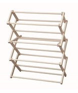 FOLDING CLOTHES DRYING RACK Amish Handmade 30w x 37½h Solid Wood Laundry... - $99.64