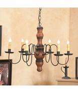 PRIMITIVE CHANDELIER Wood Metal CANDELABRA Rustic Colonial Country Ceili... - $419.95