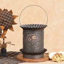 JUMBO PUNCHED TIN WAX WARMER Handmade STARS in ... - $37.99
