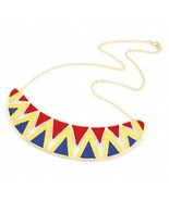 Fashion Ethnic Irregular Lacquered Triangle Choker Necklace(Red-yellow-b... - $8.39