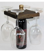WINE BOTTLE & GLASS RACK Handmade Minimalist Wood Holder 4 Glasses & Bottle USA - £19.91 GBP