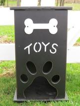 Handmade PET TOY BOX Wood Dog Cat Storage w Bone Paw Print Custom Finish CUTE - $114.97+