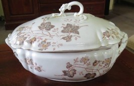 TRANSFERWARE TUREEN Aesthetic Antique Brown Red Floral Painted Serving D... - $81.19