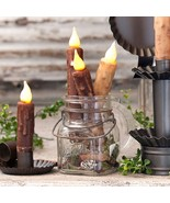 """4"""" DECOR CANDLES Twelve (12) Wax Dip Battery Operated Tapers w Timer in ... - $78.00"""