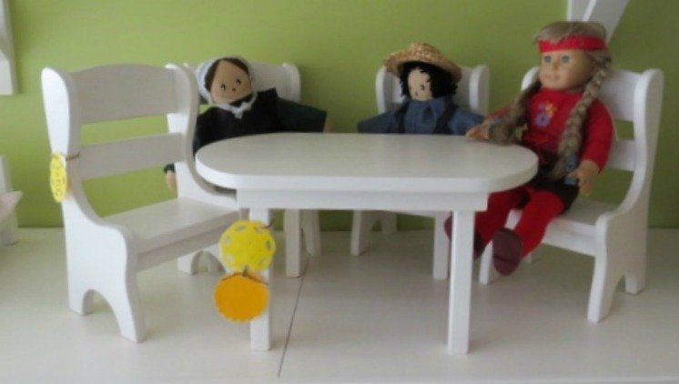 American Girl Doll Furniture Table and 4 Chairs Amish Handmade wood NICE SOLID