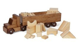 Wood Cargo Truck With Wood Block Load Amish Handmade Tractor & Blocks Usa Made - $138.57